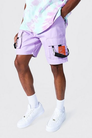Lilac purple Man Cargo Short With Tape Detailing