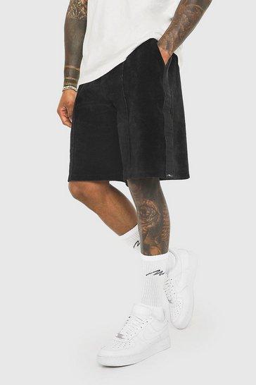 Black Loose Man Signature Velour Side Tape Shorts
