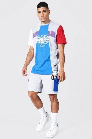 Blue La Spliced Varsity T-shirt & Short Set