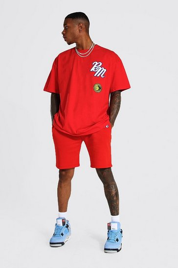 Red Oversized Applique Varsity Tshirt and Shorts Set