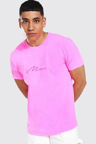 Neon-pink pink Man Signature Overdye T-shirt