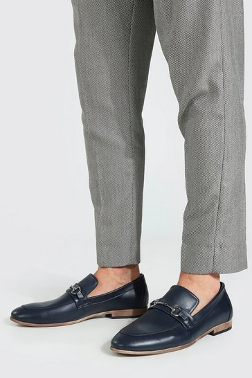 Navy Faux Leather Metal Bar Loafer
