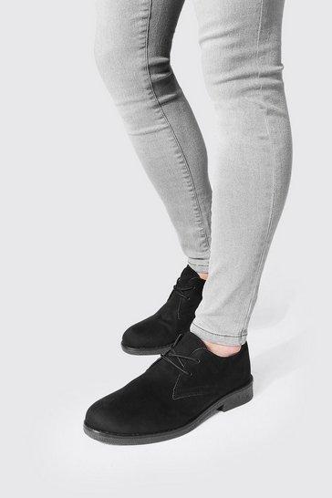 Black Faux Suede Desert Shoe