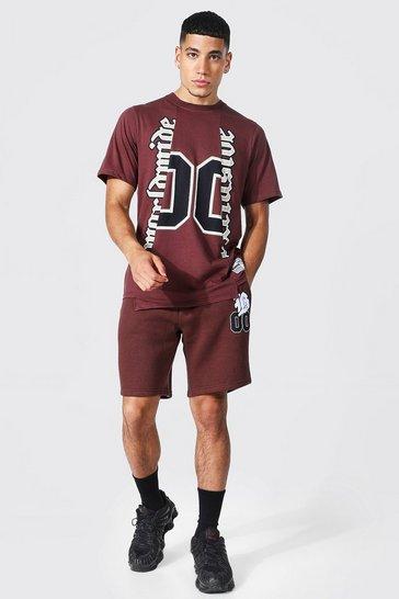 Brown Spliced Varsity T-shirt & Short Set
