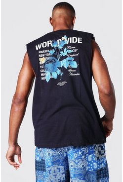 Oversized Worldwide Floral Back Print Tank, Black negro