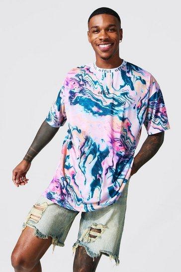 Multi Oversized Offcl Marble Jacquard Neck T-shirt