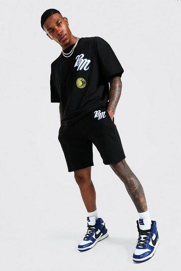 Black Oversized Applique Varsity Tshirt and Shorts Set