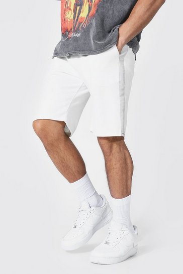 Ecru white Slim Man Signature Velour Side Tape Shorts