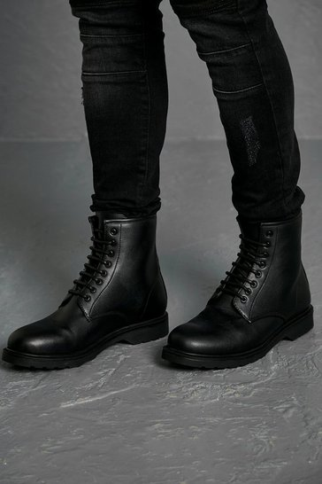 Black Leather Look Lace Up Boot