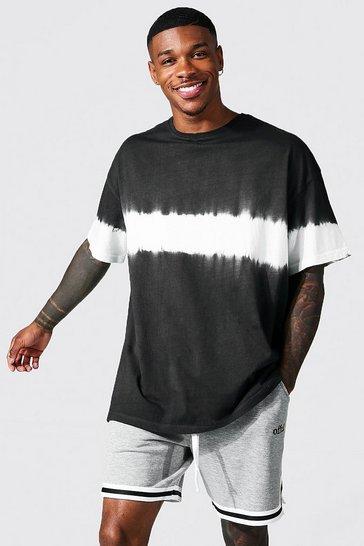 Black Oversized Tie Dye Placement T-shirt