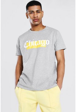 Grey marl Oversized Chicago Box Graphic T-shirt