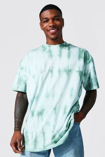 Sage green Oversized Extended Neck Tie Dye T-shirt