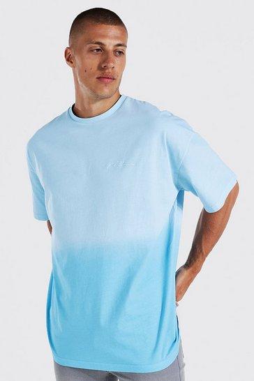 Blue Oversized Man Signature Ombre T-shirt