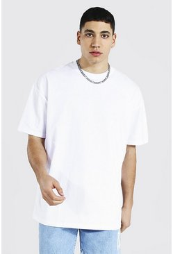 Oversized Crew Neck T-shirt, White bianco