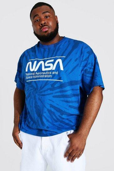 Blue Plus Size Tie Dye Nasa License T-shirt
