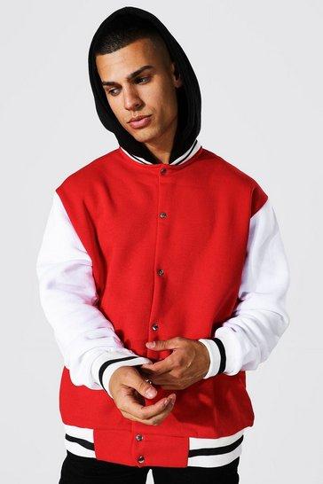 Red Oversized Hooded Jersey Varsity Bomber