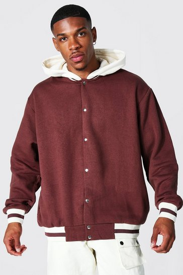 Chocolate brown Oversized Hooded Jersey Bomber