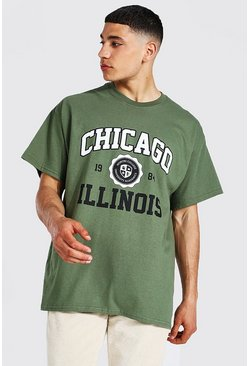 Khaki Oversized Chicago Illinois Varsity T-shirt