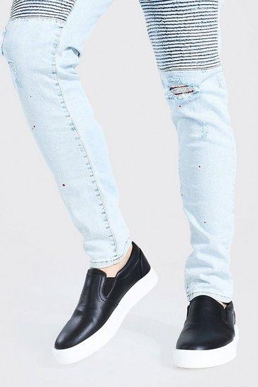 Black Smart Leather Look Slip On