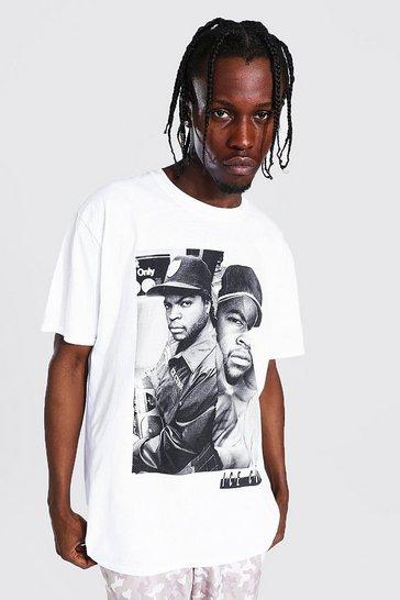 White Oversized Ice Cube Spliced T-shirt