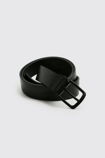 Black Faux Leather Croc Belt