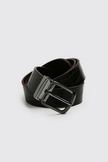 Brown Faux Leather Croc Belt