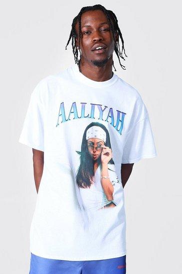 White Oversized Aaliyah Homage License T-shirt