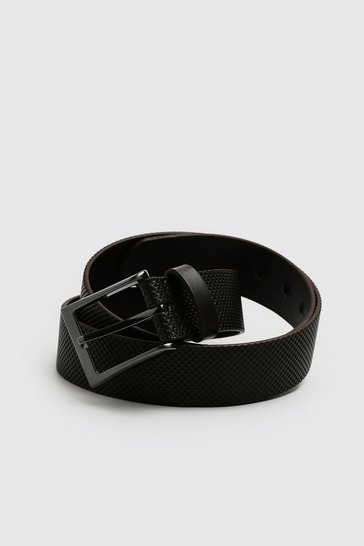 Brown Faux Leather Textured Belt