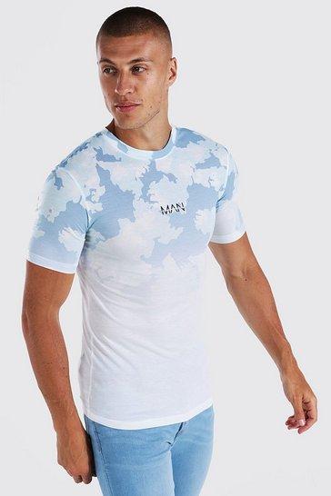 White Muscle Fit Original Man Camo Ombre T-shirt
