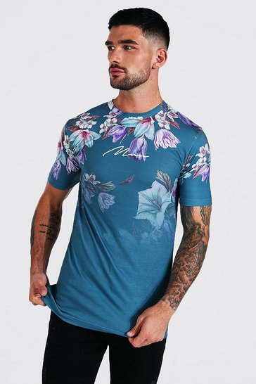 Navy Muscle Fit Man Signature Floral Ombre T-shirt