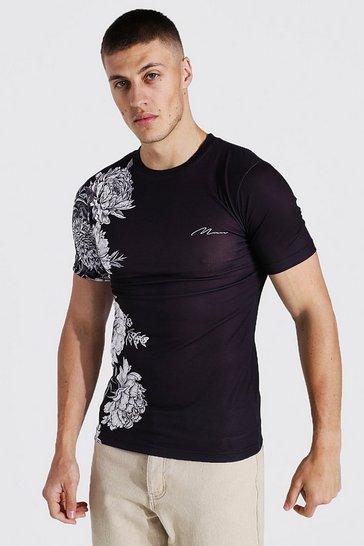 Black Muscle Fit Man Signature Floral T-shirt