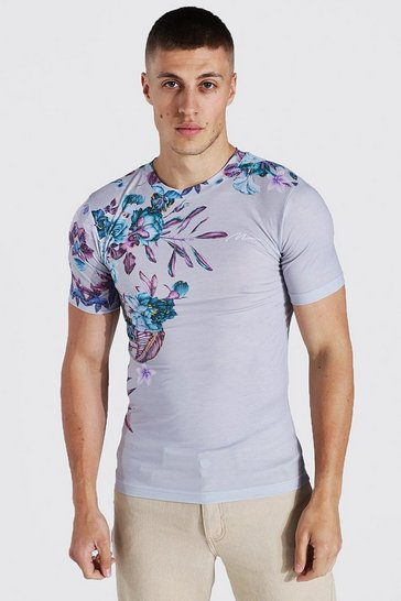 Grey Muscle Fit Man Signature Floral T-shirt