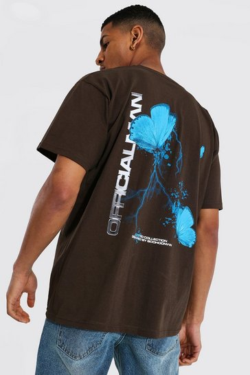 Chocolate brown Oversized Man Butterfly Back Print T-shirt