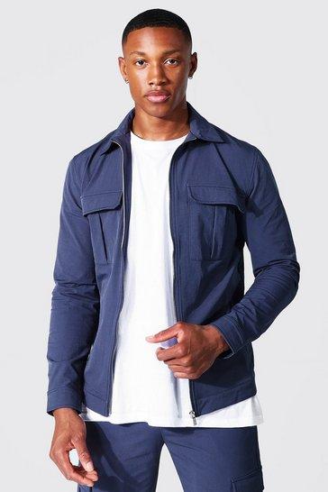 Blue Tailored Harrington Cargo Jacket