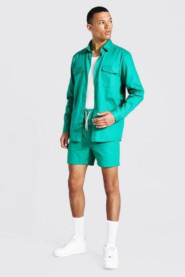 Green Tall Long Sleeve Twill Stripe Overshirt And Short