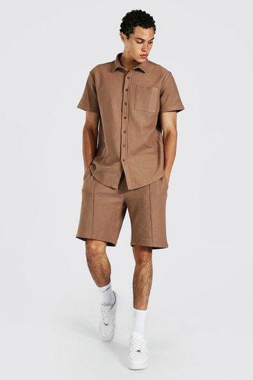 Mocha beige Tall Twill Jacquard Shirt And Short Set