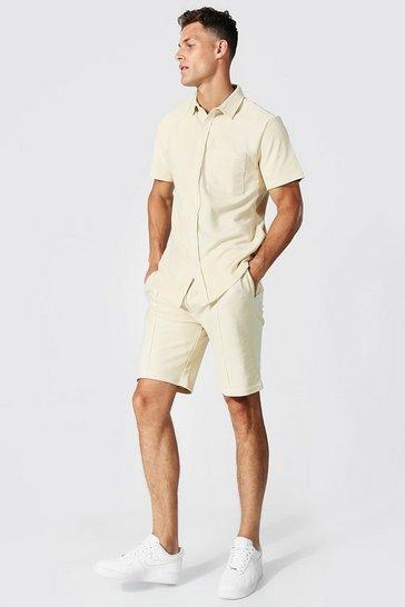 Stone beige Tall Twill Jacquard Shirt And Short Set