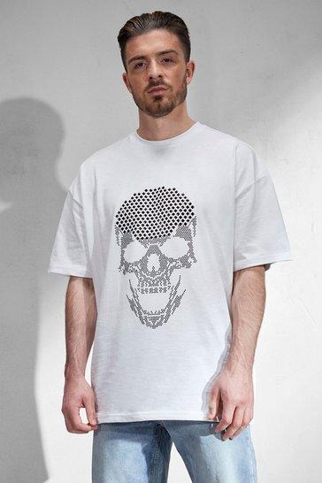 White Oversized Rhinestone Skull T-shirt