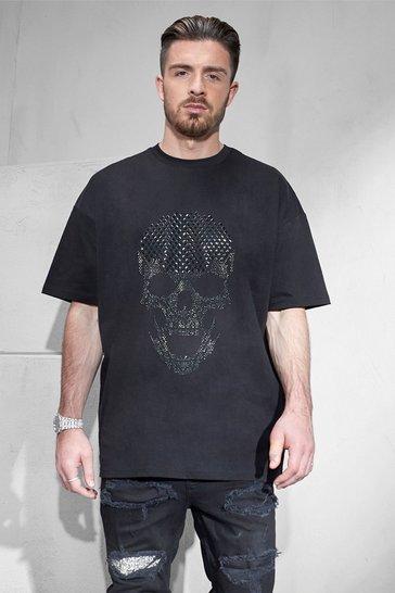 Black Oversized Rhinestone Skull T-shirt