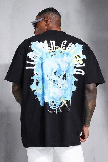 Black Oversized Skull Graphic Extended Neck T-shirt