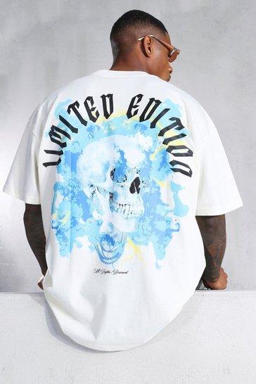 Ecru white Oversized Skull Graphic Extended Neck T-shirt