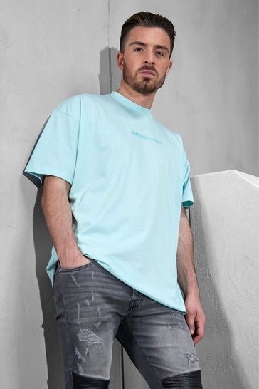 Blue Oversized Limited Edition Embroidered T-shirt