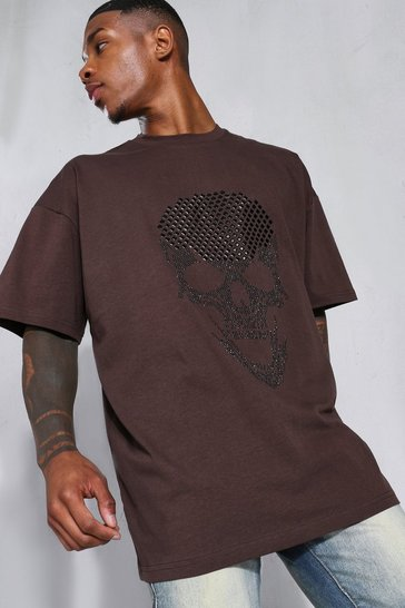 Chocolate brown Oversized Rhinestone Skull T-shirt