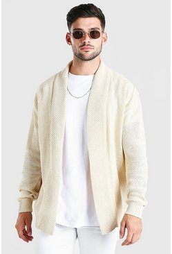 Oatmeal Textured Edge To Edge Cardigan