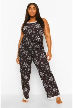 Black Plus Snowflake Cami Trouser Set