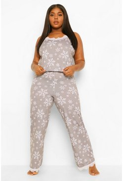 Grey Plus Snowflake Cami Trouser Set