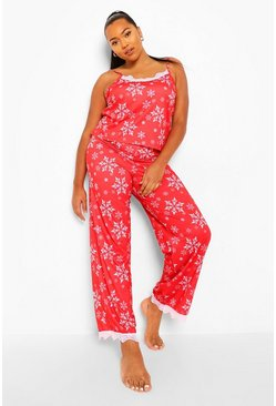 Plus Snowflake Cami Trouser Set, Red Красный