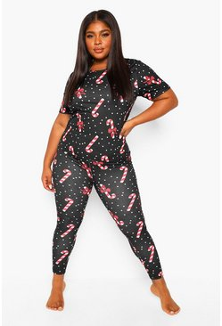 Plus Candy Cane Pj Set, Black Чёрный