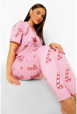 Pink Plus Candy Cane Pj Set