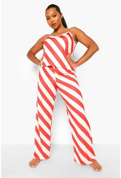 Red Plus Candy Cane Stripe Cami Trouser Set